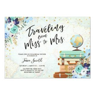 Traveling From Miss to Mrs Floral Bridal Shower Invitations