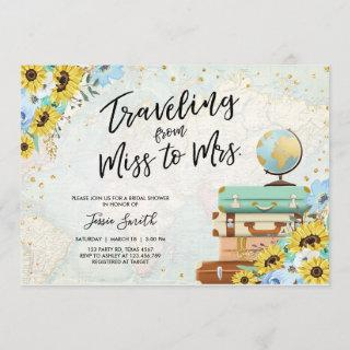 Traveling From Miss to Mrs Sunflower Bridal Shower Invitations