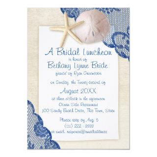 Treasured Beach and Lace Blue Bridal Shower Invitation