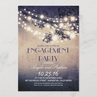 tree branches & string lights engagement party invitation