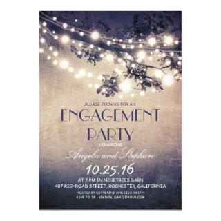 tree branches & string lights engagement party Invitations