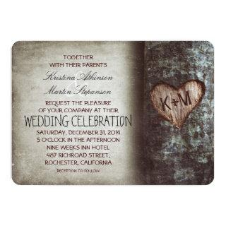 Tree Carved Heart Rustic and Vintage Wedding Invitations