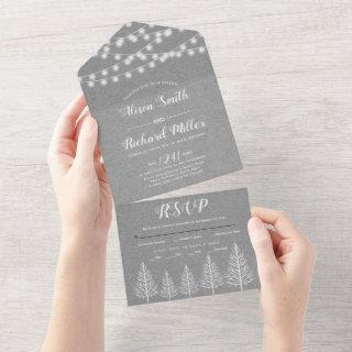 Trees and lights gray kraft paper winter wedding all in one