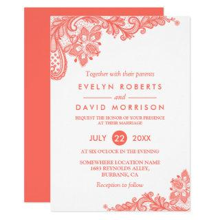 Trending Cora White Lace Floral Wedding Invitations
