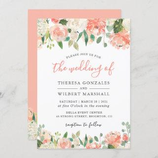 Trending Coral and Peach Watercolor Floral Wedding Invitation