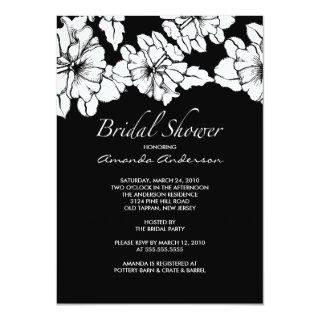 Trendy Black & White Floral Bridal Shower Invite