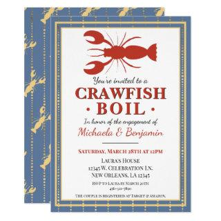 Trendy Blue Crawfish Boil Lobster Party Engagement Invitations