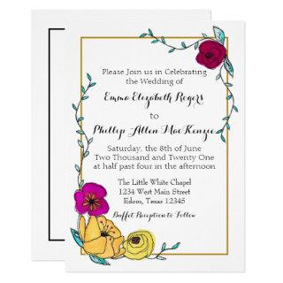 Trendy Blue Magenta Poppy Yellow Floral Modern Invitations