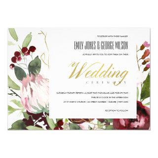 TRENDY BLUSH PINK BURGUNDY PROTEA FLORAL WEDDING Invitations