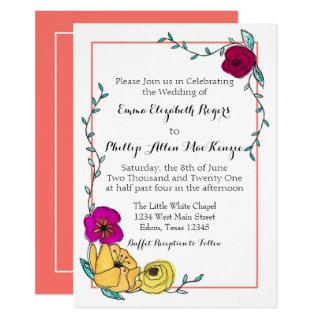 Trendy Coral Magenta Poppy Yellow Floral Modern Invitations