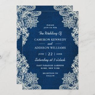 Trendy Floral Lace Elegant Teal Blue Wedding Invitations