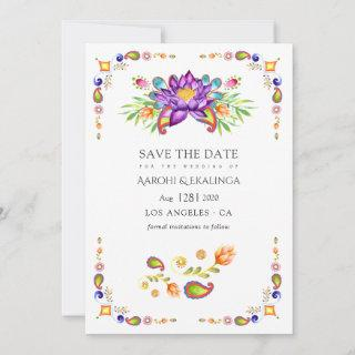 Trendy Floral Paisley Indian Wedding Save The Date