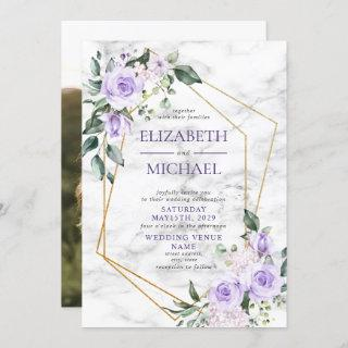 Trendy Gold Geometric Lilac Floral Marble Photo Invitations