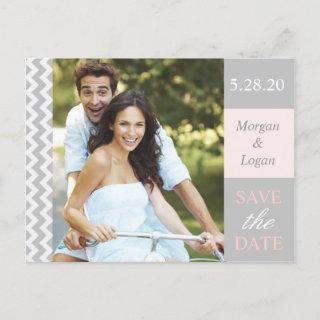 Trendy Gray + Pink Chevron Photo Save the Date Announcement Postcard