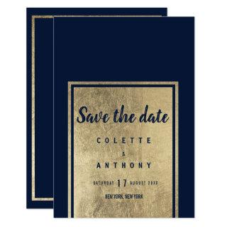 Trendy navy blue elegant faux gold Save The Date Invitations