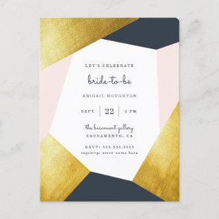 Trendy Navy, Blush & Gold Geometric Bridal Shower Invitation Postcard