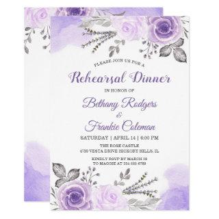 Trendy Pastel Purple Floral Chic Rehearsal Dinner Invitations