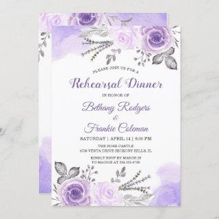 Trendy Pastel Purple Floral Chic Rehearsal Dinner Invitation