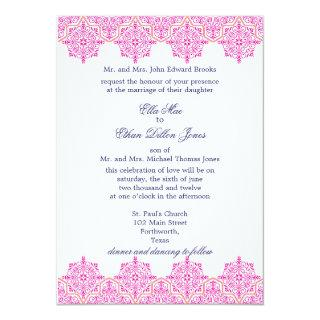 Trendy Pink and Orange Damask Wedding invitations