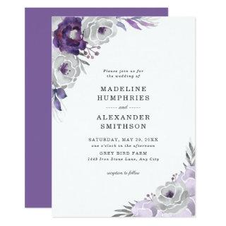 Trendy Purple Gray Watercolor Floral Wedding Invitations