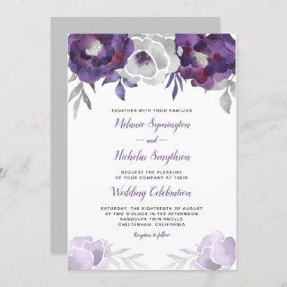 Trendy Purple Silver Floral wedding invite 3963