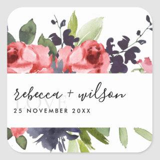 TRENDY RED ROSE PEONY FLORAL BUNCH LOVE  WEDDING SQUARE STICKER