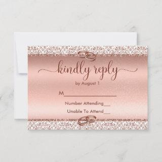 Trendy Rose Gold Glitter Wedding RSVP Card