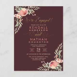Trendy Script Hand-Painted Floral Engagement Party Invitation Postcard