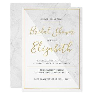 Trendy Typography | Chic Marble Bridal Shower Invitations