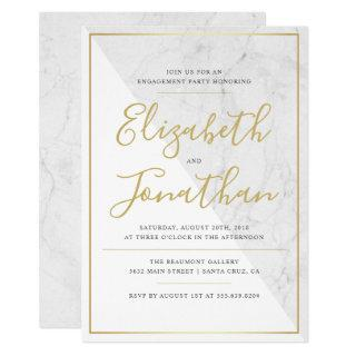 Trendy Typography | Chic Marble Engagement Party Invitations