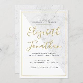 Trendy Typography   Chic Marble Engagement Party