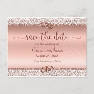 Trendy Typography Rose Gold Wedding Save the Date Announcement Postcard