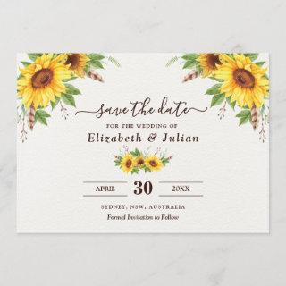 Trendy Watercolor Sunflowers Summer Save the Date Invitation