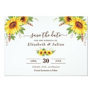 Trendy Watercolor Sunflowers Summer Save the Date Invitations