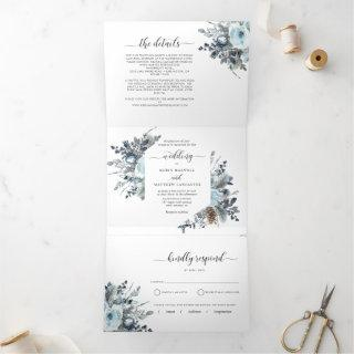 Tri-Fold Invitations with RSVP Blue Floral Wedding