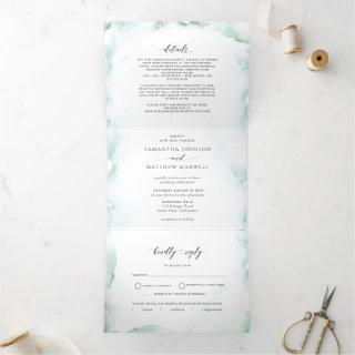 Tri-Fold Invitations with RSVP Watercolor Wedding