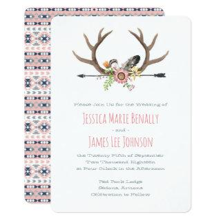 Tribal Arrow and Antlers Pink Invitations