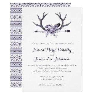Tribal Arrow and Antlers Purple Invitation