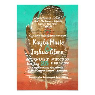 Tribal Boho Feather Teal Orange Wedding Invitation