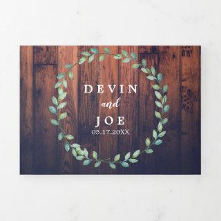 Trifold Watercolor Greenery Wedding Invitations