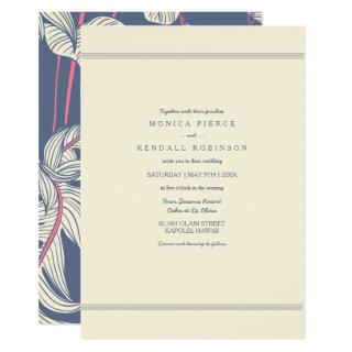 Tropic Vibes Ivory Hawaiian Beach Wedding Invite