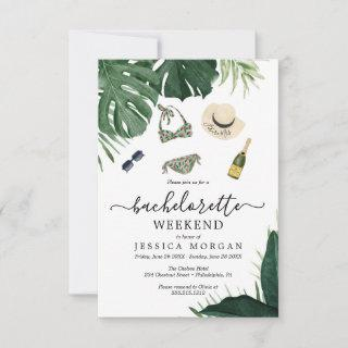 Tropical Bachelorette Party Invite Itinerary