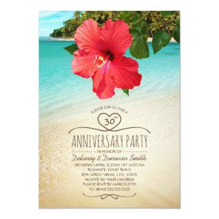 Tropical Beach 30th Wedding Anniversary Party Invitations