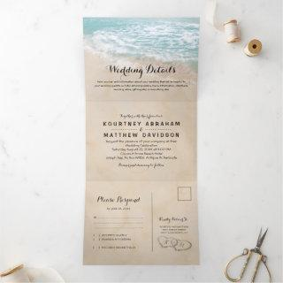 Tropical Beach 3 in 1 Wedding Tri-Fold Invitations