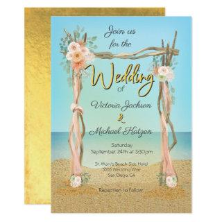 Tropical Beach Arbor Arch Wedding Invitations