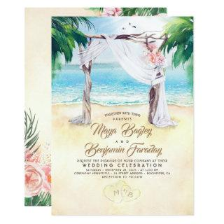 Tropical Beach Arbor Dreamy Summer Wedding Invitations