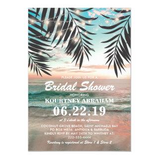 Tropical Beach Bridal Shower | String of Lights Invitations