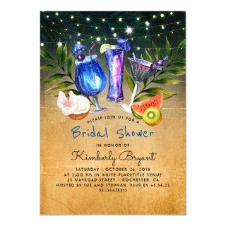 Tropical Beach Cocktail Party Bridal Shower Invitations