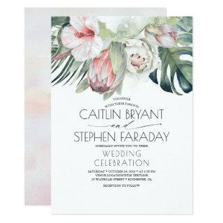 Tropical Beach Floral Greenery Foliage Wedding Invitation