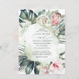 Tropical Beach Floral Greenery Foliage Wedding Invitations